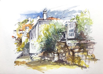 (CreativeWork) Coastal Cottage , Hydra , Greece by Geoff Stanistreet. watercolour. Shop online at Bluethumb.
