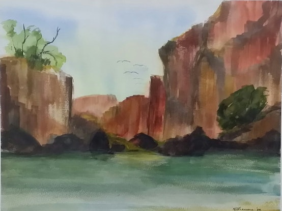 (CreativeWork) Red Cliffs by Heather Browne. Watercolour Paint. Shop online at Bluethumb.