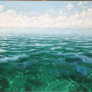 (CreativeWork) From Coronation Island, Abrolhos Islands by Paul Lucas. oil-painting. Shop online at Bluethumb.