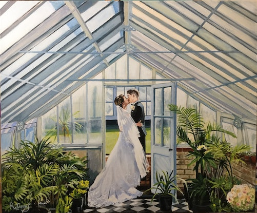 (CreativeWork) The Kiss [COMMISSION) by Robyn Gray. Acrylic Paint. Shop online at Bluethumb.