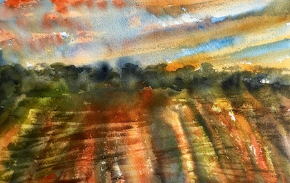 (CreativeWork) A New Day Is Dawning - Small Landscape by Cynthia Copley. watercolour. Shop online at Bluethumb.