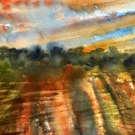 (CreativeWork) A New Day Is Dawning - Impressionist Landscape by Cynthia Copley. Watercolour Paint. Shop online at Bluethumb.