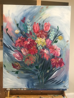 (CreativeWork) A Breezy Day in my Garden by Maggie Deall. Acrylic Paint. Shop online at Bluethumb.