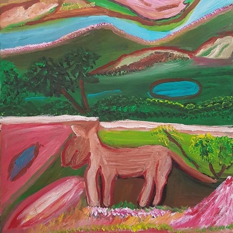 (CreativeWork) Dingo Story at Oaktree Point #284-18 by Dolly Loogatha. Acrylic Paint. Shop online at Bluethumb.