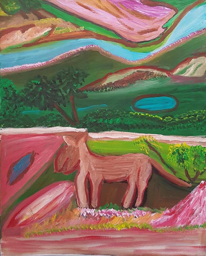 (CreativeWork) Dingo Story at Oaktree Point #284-18 by Dolly Loogatha. arcylic-painting. Shop online at Bluethumb.