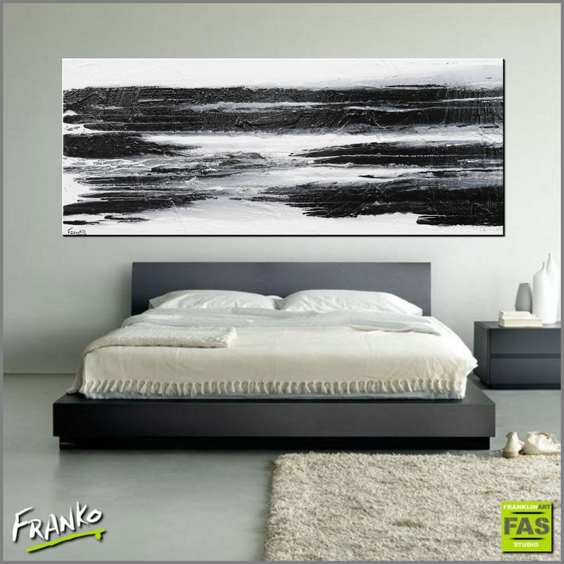 (CreativeWork) Minimal Horizon 200cm x 80cm  Huge minimalist abstract textured black and white by _Franko _. Acrylic Paint. Shop online at Bluethumb.