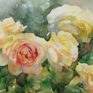(CreativeWork) Yellow Roses by Annette Raff. watercolour. Shop online at Bluethumb.