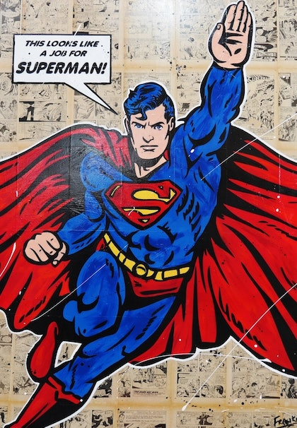 The Job 140cm x 100cm #arrives ready to hang canvas gloss finish urban Pop art Superman comic books