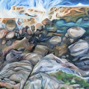 (CreativeWork) Beach Rocks by Renae Morris. oil-painting. Shop online at Bluethumb.