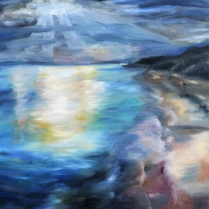 (CreativeWork) Summer Storms by Renae Morris. oil-painting. Shop online at Bluethumb.