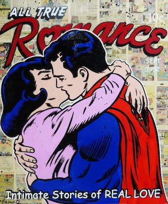 """(CreativeWork) """"Super Romance"""" 1970s comic pages on Canvas # no further framing needed Superman Kissing Lois Pop art by _Franko _. Mixed Media. Shop online at Bluethumb."""