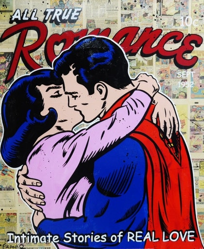 """Super Romance"" 1970s comic pages on Canvas # no further framing needed Superman Kissing Lois Pop art"