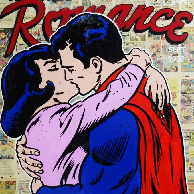 """(CreativeWork) """"Super Romance"""" 1970s comic pages on Canvas # no further framing needed Superman Kissing Lois Pop art by _Franko _. mixed-media. Shop online at Bluethumb."""