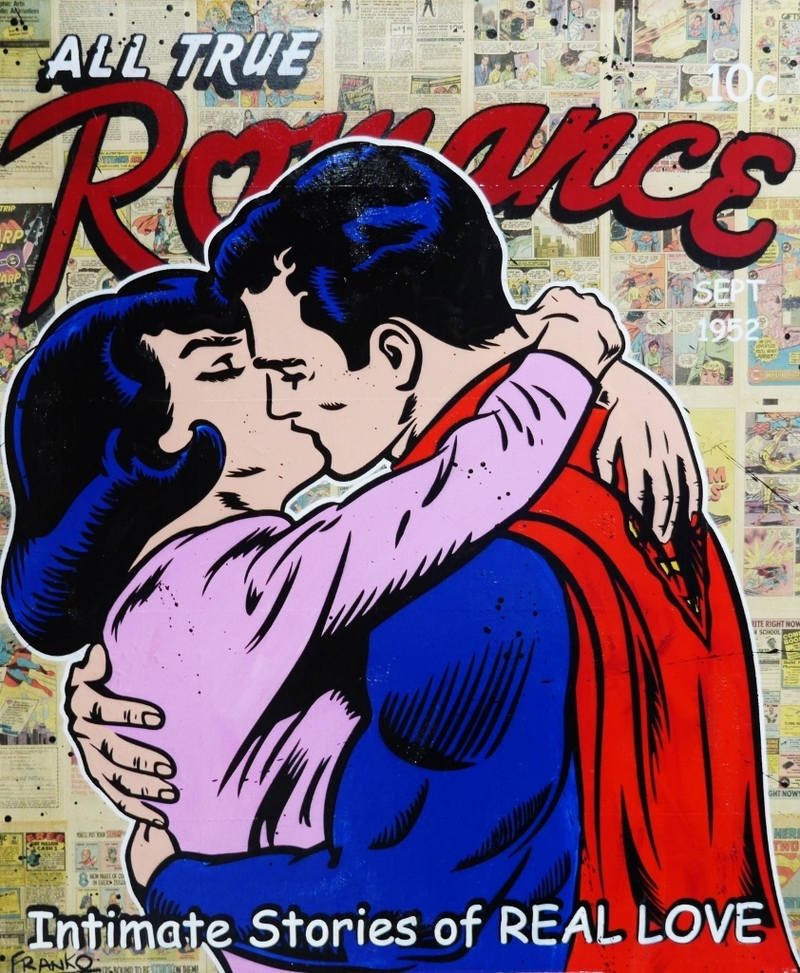 "(CreativeWork) ""Super Romance"" 1970s comic pages on Canvas # no further framing needed Superman Kissing Lois Pop art by _Franko _. mixed-media. Shop online at Bluethumb."