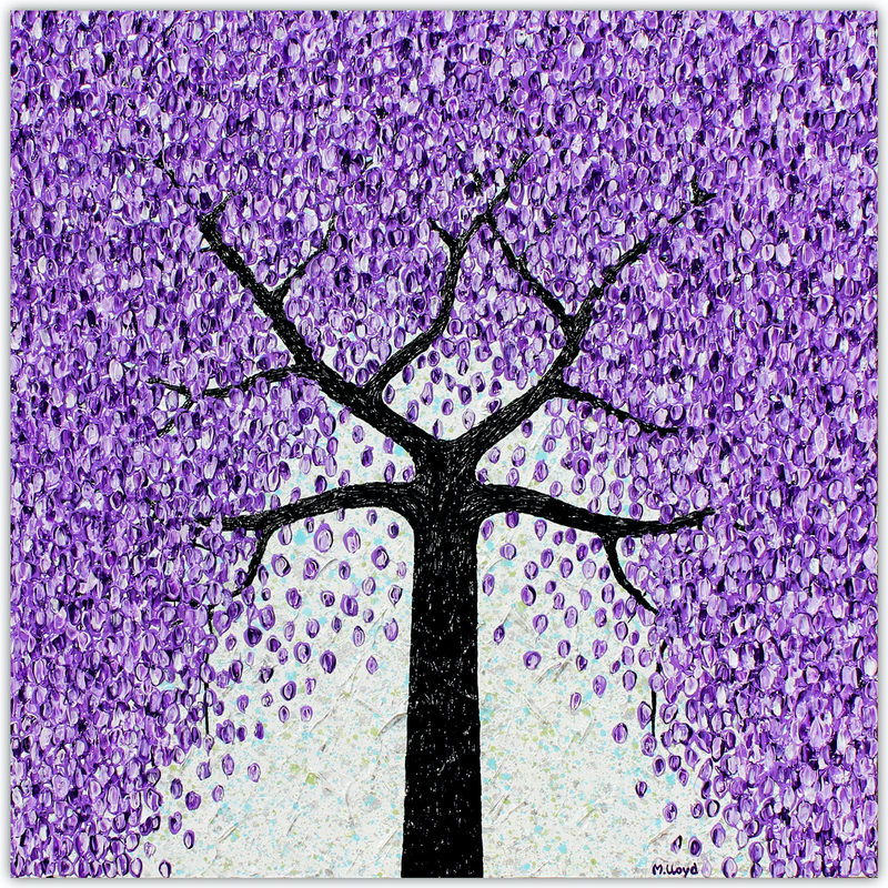 (CreativeWork) Jacaranda Tree - Falling Flowers by Miranda Lloyd. mixed-media. Shop online at Bluethumb.