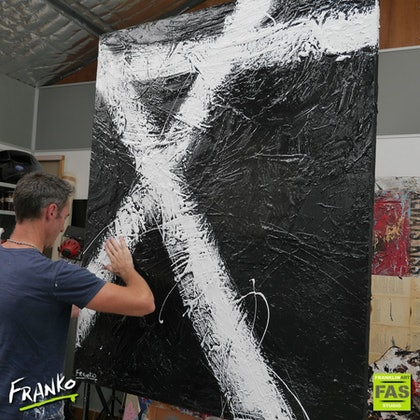Black Tango *HUGE* 120cm x 150cm   Acrylics ink Gloss Texture  Abstract minimalist black and white
