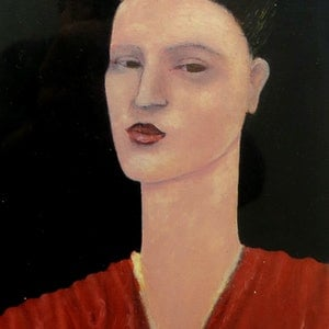(CreativeWork) Woman Wearing Red Top - Small Oil painting (21 x 13cm  thats 32 x 23cm in frame ) by John Graham. oil-painting. Shop online at Bluethumb.