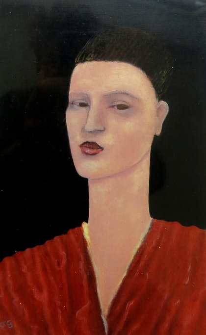 Woman Wearing Red Top - Small Oil painting (21 x 13cm  thats 32 x 23cm in frame )