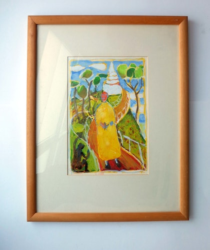 Monk with Slingshot (angry monkeys) - (28 x19cm and 49 x 38cm framed)