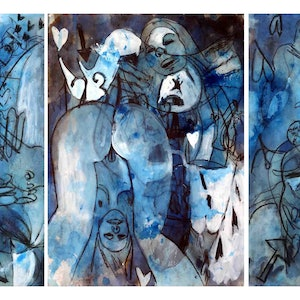 (CreativeWork) Erotic Dreaming (aka blue dreaming) - Three unframed works each 42 x 60cm  by John Graham. mixed-media. Shop online at Bluethumb.