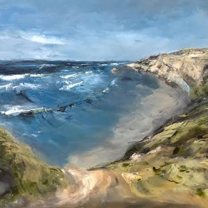 (CreativeWork) Torquay Surf by Tiffany Blaise. oil-painting. Shop online at Bluethumb.