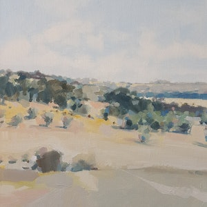 (CreativeWork) Gidgee Gully by Richard Burkitt. oil-painting. Shop online at Bluethumb.