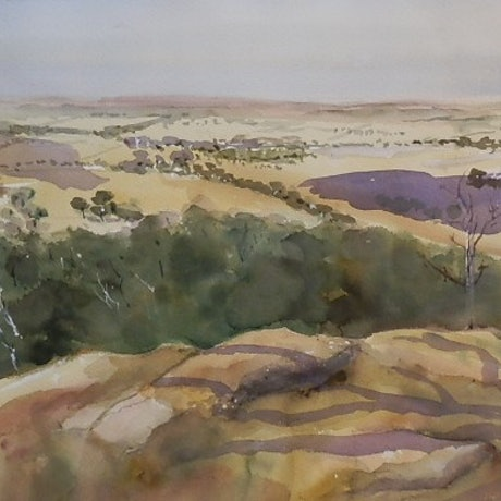 (CreativeWork) Looking East from the You Yang's by Phillip Mylecharane. Watercolour Paint. Shop online at Bluethumb.