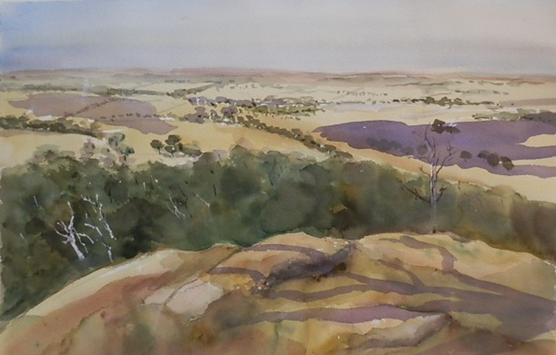 (CreativeWork) Looking East from the You Yang's by Phillip Mylecharane. watercolour. Shop online at Bluethumb.