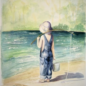 (CreativeWork) The Gone Fishing Boys - Jono by Lucinda Leveille. watercolour. Shop online at Bluethumb.