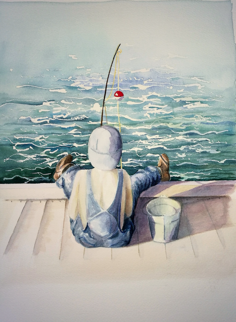 (CreativeWork) The Gone Fishing Boys - Jamie by Lucinda Leveille. Watercolour Paint. Shop online at Bluethumb.