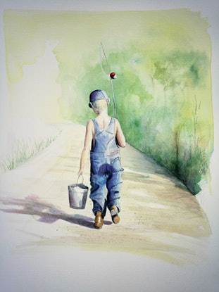 (CreativeWork) The Gone Fishing Boys - Fazza by Lucinda Leveille. Watercolour Paint. Shop online at Bluethumb.