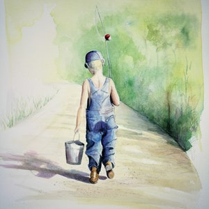 (CreativeWork) The Gone Fishing Boys - Fazza by Lucinda Leveille. watercolour. Shop online at Bluethumb.