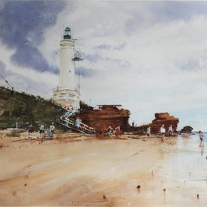 (CreativeWork) Point Lonsdale - Framed by Kanag Janakan. watercolour. Shop online at Bluethumb.