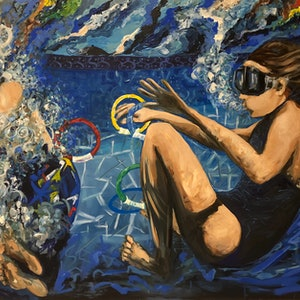 (CreativeWork) Living underwater is fun!  by Bonnie Hope. mixed-media. Shop online at Bluethumb.
