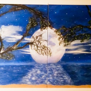 (CreativeWork) Moonlight on the Water  by Sue Nadon. arcylic-painting. Shop online at Bluethumb.