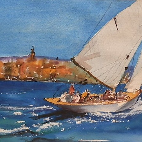 (CreativeWork) Blue water Sailing by Phillip Mylecharane. Watercolour Paint. Shop online at Bluethumb.