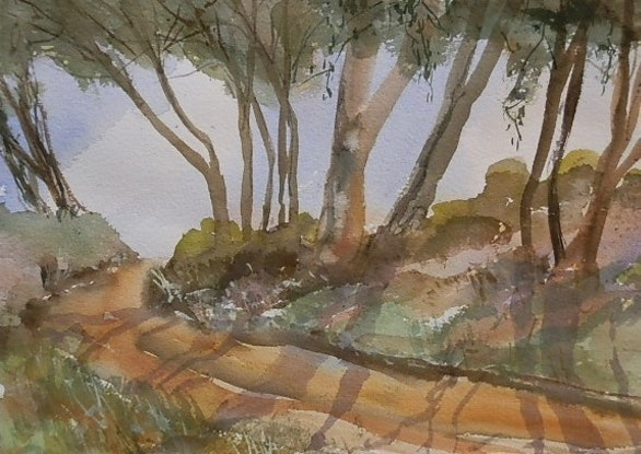 (CreativeWork) Back Road by Phillip Mylecharane. Watercolour Paint. Shop online at Bluethumb.