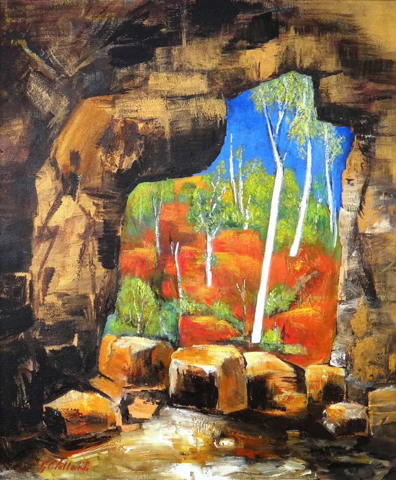 (CreativeWork) Cave Entrance   by Glenise Clelland. Acrylic Paint. Shop online at Bluethumb.