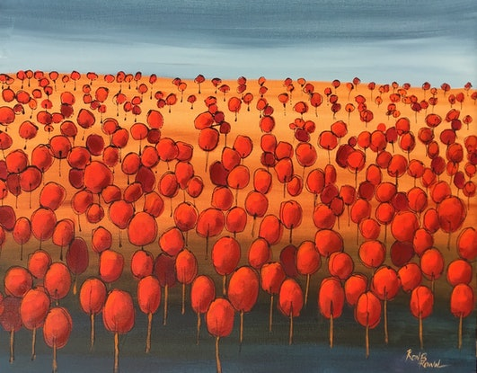 (CreativeWork) Red landscape  by Ron Brown. Acrylic Paint. Shop online at Bluethumb.