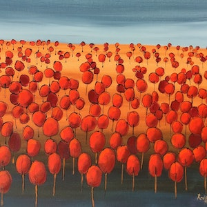 (CreativeWork) Red landscape  by Ron Brown. arcylic-painting. Shop online at Bluethumb.
