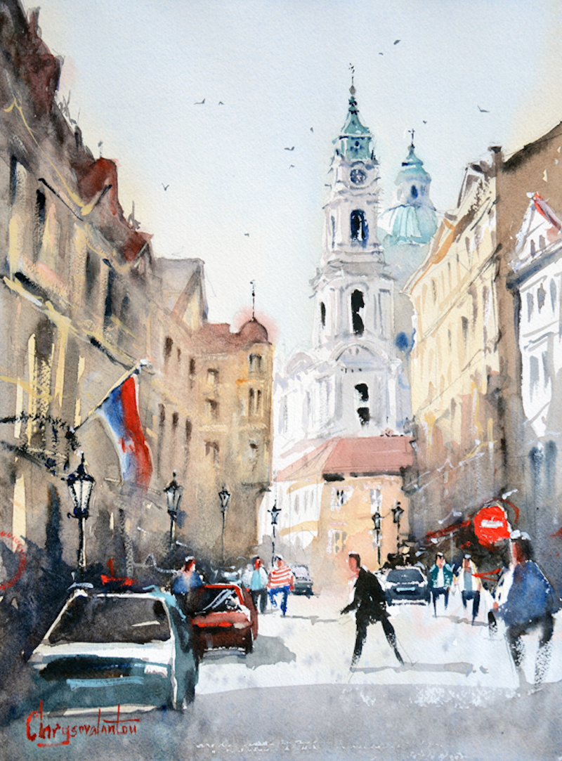 (CreativeWork) Prague Street by Chrysovalantou Mavroudis. watercolour. Shop online at Bluethumb.