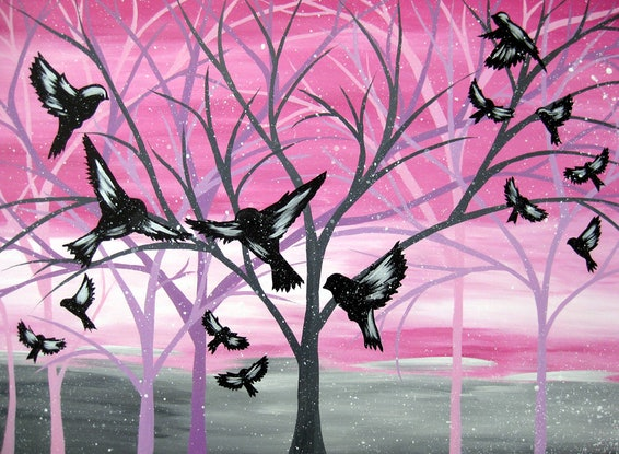 (CreativeWork) Dawn birds at Central Park by Cathy Jacobs. Acrylic Paint. Shop online at Bluethumb.