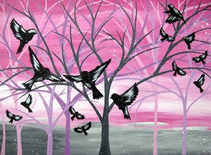 (CreativeWork) Dawn birds at Central Park by Cathy Jacobs. arcylic-painting. Shop online at Bluethumb.