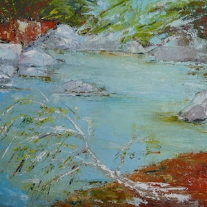 (CreativeWork) WATERHOLE by chantal kwast-greff. oil-painting. Shop online at Bluethumb.