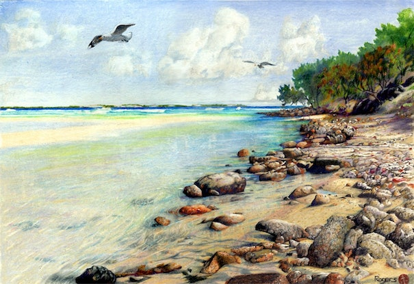(CreativeWork) Waddy Point, Fraser Island, Queensland by Kevin Rogers. Drawings. Shop online at Bluethumb.