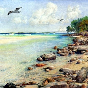 (CreativeWork) Waddy Point, Fraser Island, Queensland by Kevin Rogers. drawing. Shop online at Bluethumb.