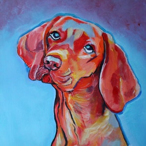 (CreativeWork) Red Dog by Julie Hollis. arcylic-painting. Shop online at Bluethumb.