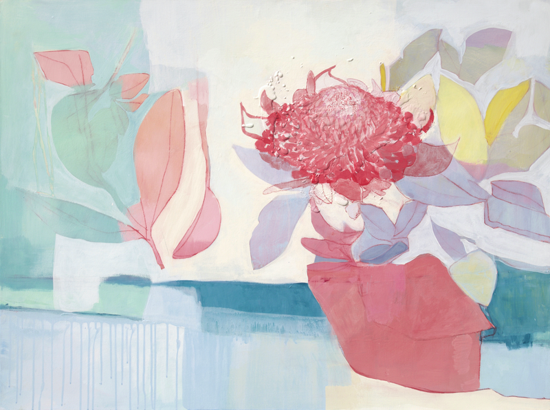 (CreativeWork) Waratah by Stephanie Laine. arcylic-painting. Shop online at Bluethumb.