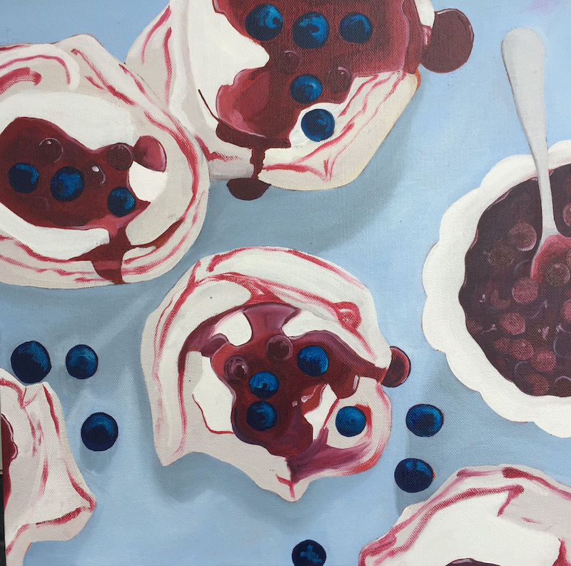 (CreativeWork) Blueberry meringues #2 by Sandra Jenkins. oil-painting. Shop online at Bluethumb.
