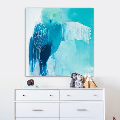 (CreativeWork) Owl - square blue abstract bird by Stephanie Laine. Acrylic Paint. Shop online at Bluethumb.